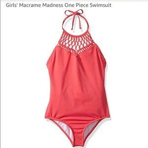 Billabong Macrame Pink one piece Swimsuit Size 7